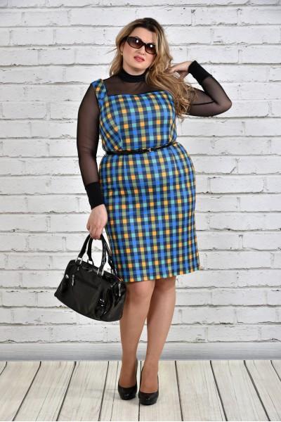 Фото Сине-желтое платье в клетку 0311-3 (комплект блуза + сарафан)