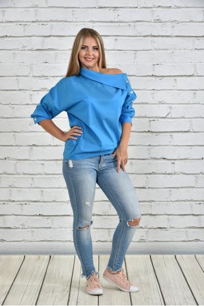 Фото Голубая блузка 0341-2