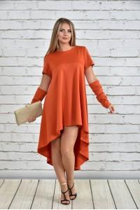 Фото Оранжевое платье 0342-3