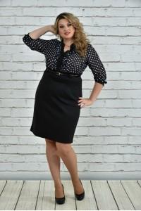 Фото Черное платье в горох 0321-1
