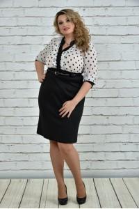 Фото Чорно-біле плаття в горох 0321-2