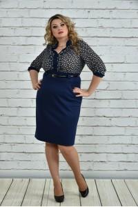 Фото Синее платье в горох 0321-3