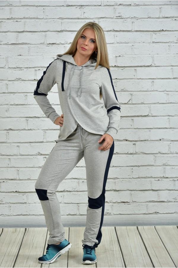 Фото Спортивный костюм серый с синим 0338-1