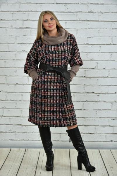 Фото Красное пальто 0357-3 (пояс в комплекте)