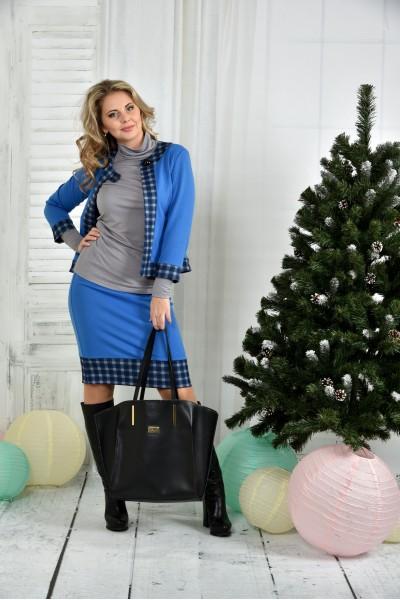 Фото Синий костюм 0389-3 жакет + юбка (на фото с гольфиком 0390 - отдельно)