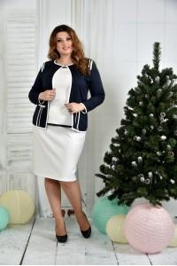 Фото Костюм 0391-1-1 Синий жакет + Белая юбка (на фото с блузкой 0392-1)