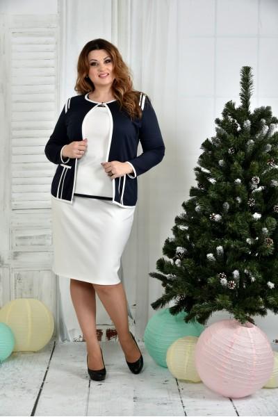 Фото Костюм 0391-1-1 Синій жакет + Біла спідниця (на фото з блузкою 0392-1)