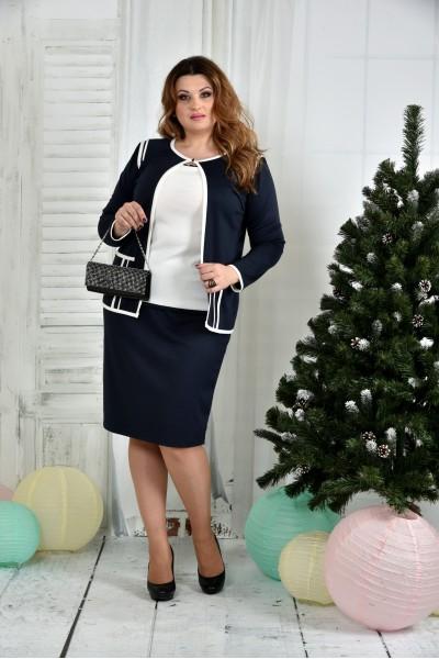 Фото Костюм 0391-1-2 Синій жакет + Синя спідниця (на фото з блузкою 0392-1)