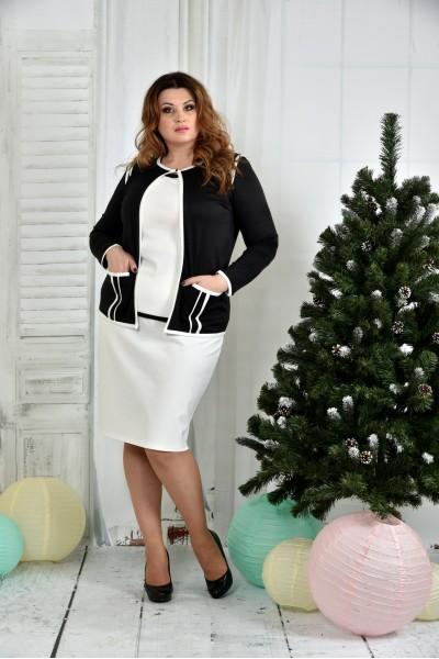 Фото Костюм 0391-2-1 Чорний жакет + Біла спідниця (на фото з блузкою 0392-2)