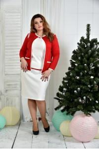 Фото Костюм 0391-3-1 Красный жакет + Белая юбка (на фото с блузкой 0392-3)