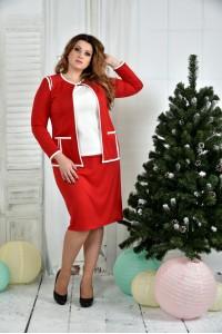 Фото Костюм 0391-3-2 Красный жакет + Красная юбка (на фото с блузкой 0392-3)