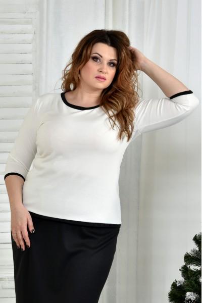 Фото Блузка белая с черной отделкой 0392-2