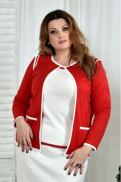 Фото Белая блузка с красной отделкой 0392-3