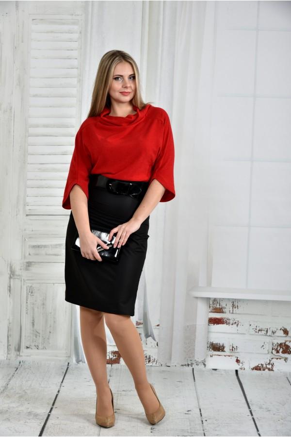 Фото Червона сукня 0426-1 (пояс в комплекті)