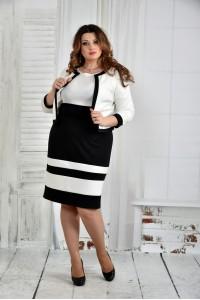 Фото Черно-белый костюм 0435-1 (платье и жакет)