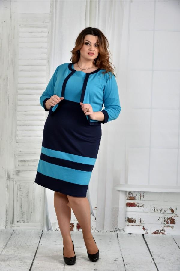 Фото Блакитний костюм 0435-2 (плаття і жакет)