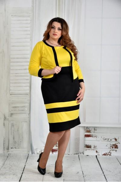 Фото Костюм желтый с черным 0435-3 (платье и жакет)