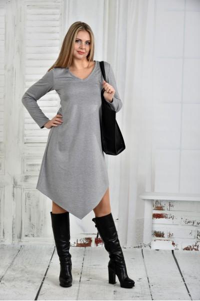 Фото Платье светло-серое 0437-1