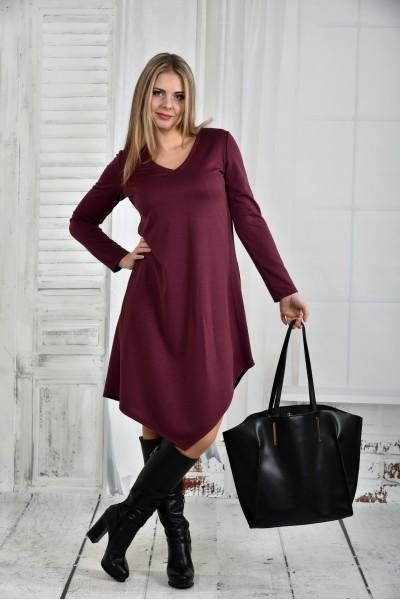 Фото Бордовое платье 0437-3