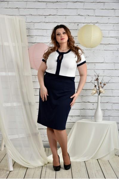 Фото Сине-белый костюм 0444-1 Платье и жакет