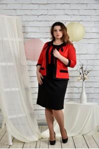 Фото Алый костюм 0444-3 Платье и жакет
