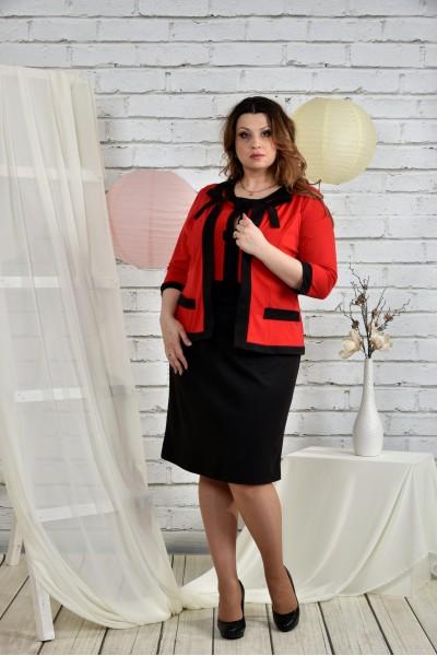 Фото Яскраво-червоний костюм 0444-3 Плаття і жакет
