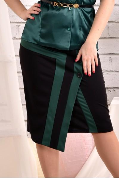 Фото Юбка черная с зеленым 0458-3