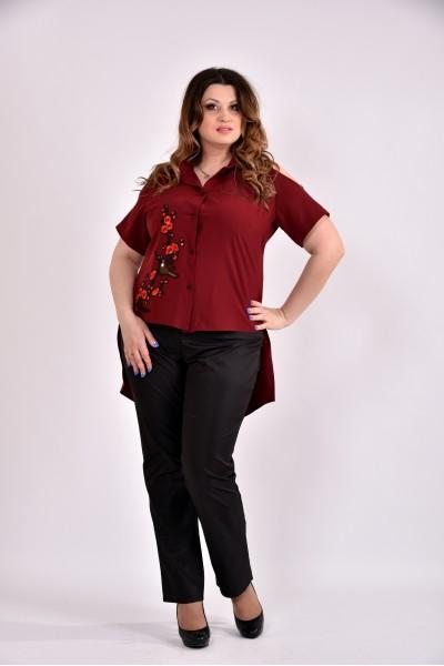 Фото Бордовая блузка с апликацией 0480-2