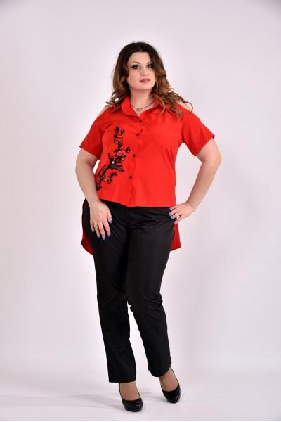 Фото Красная блузка с апликацией 0480-3