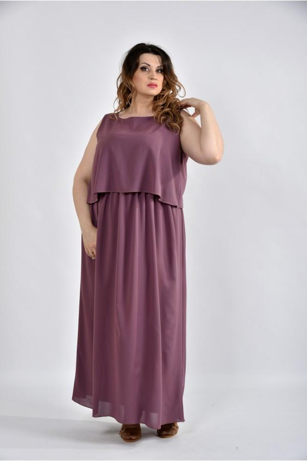 Фото Сливовий літнє плаття в підлогу 0532-1