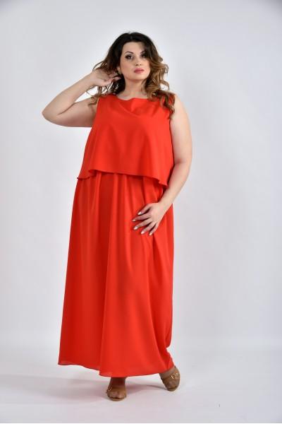 Фото Алое длинное летнее платье 0532-2