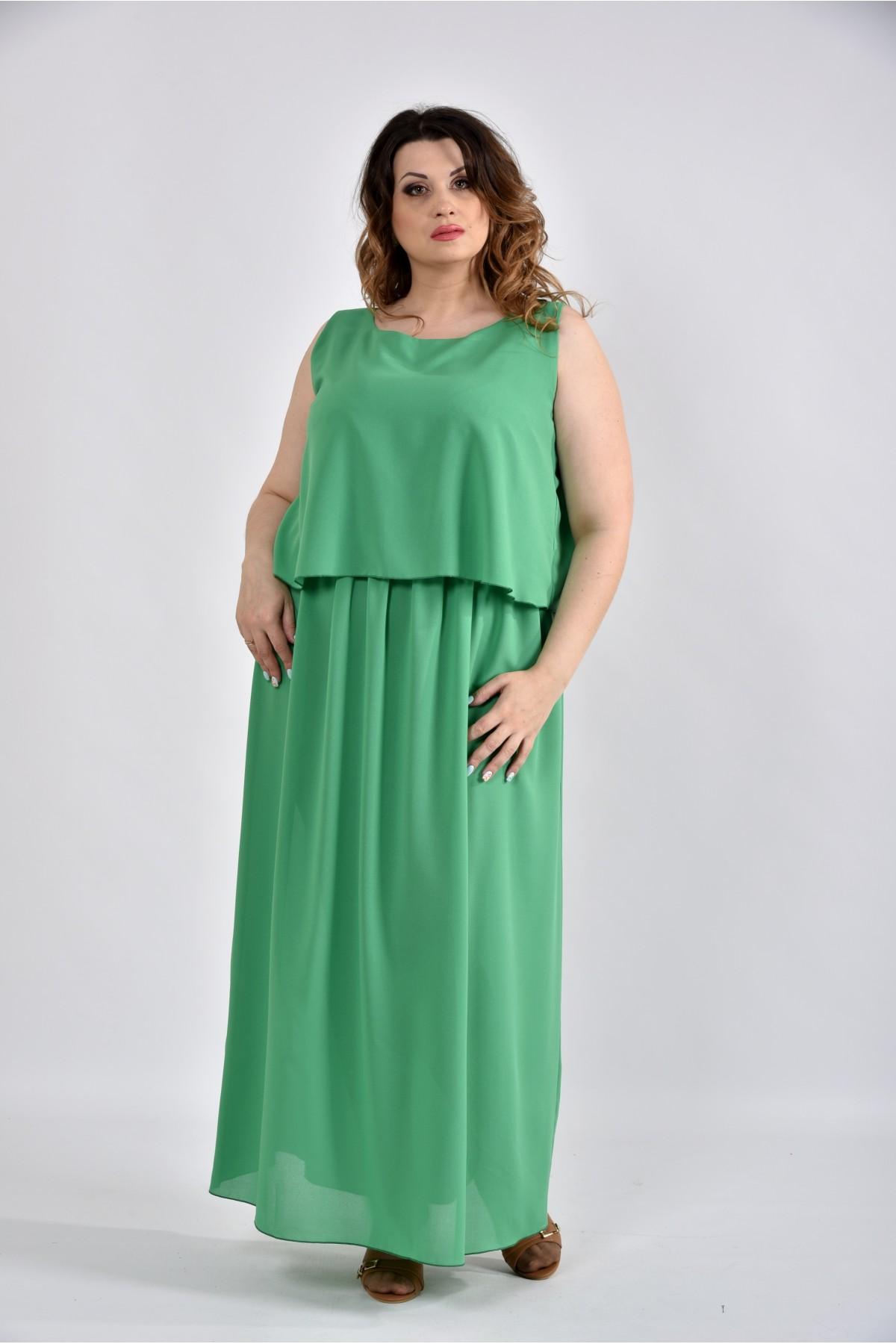 Довга сукня зеленого кольору з 42 до 74 розміру. Модель 0532-3 ... a384636511bc5