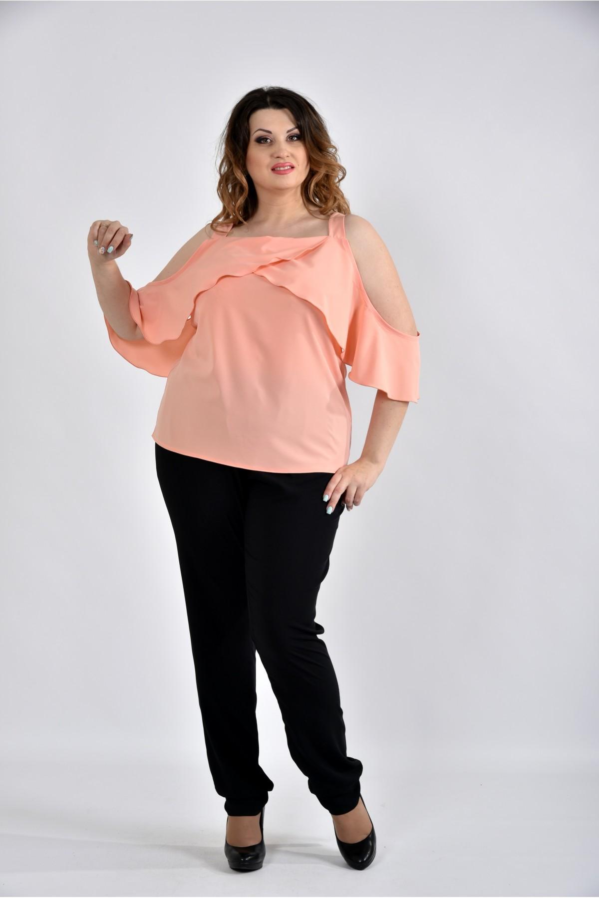 7f087d424fc Персиковая блузка с 42 до 74 размера. Модель 0535-3 - купить с ...