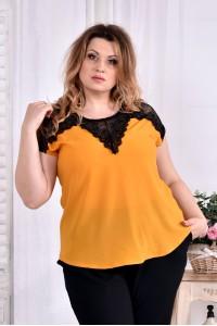 Фото Легкая шифоновая блузка желтого цвета 0543-1