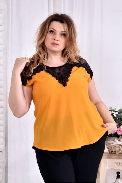 Фото Легка шифонова блузка жовтого кольору 0543-1