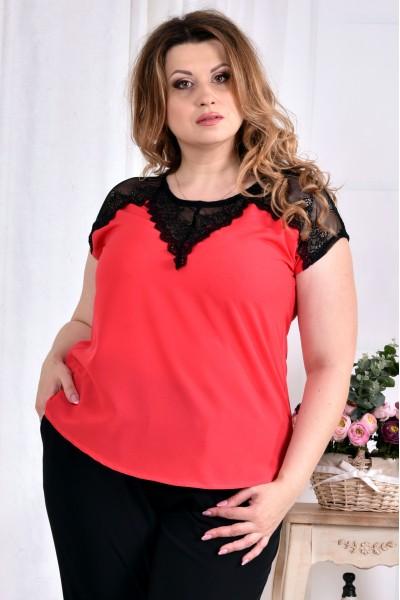 Фото Коралова річна блузка з коротким рукавом 0543-2