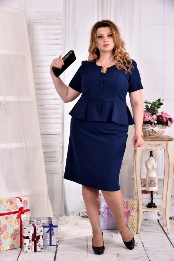 Фото Темно-синій жіночий костюм з легкої тканини 0547-2