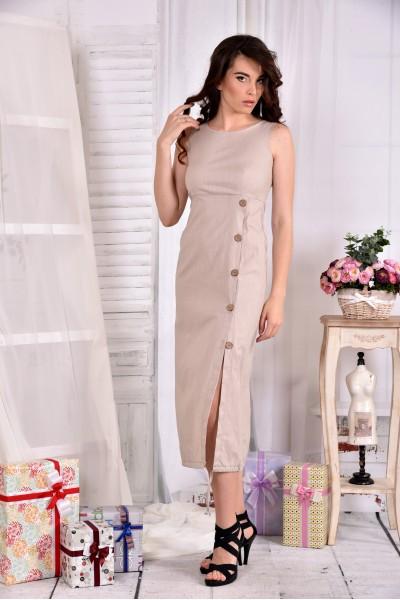 Довга Бежева сукня з льону 0550-1