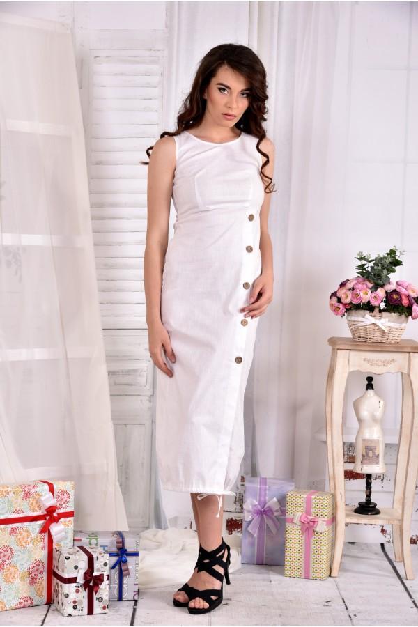 Фото Длинное льняное платье 0550-3 молоко