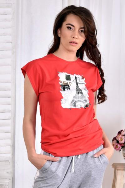 Фото Морквяна стрейчева футболка (ПРИНТ НА ВИБІР) 0557-1 (турецька трикотаж)