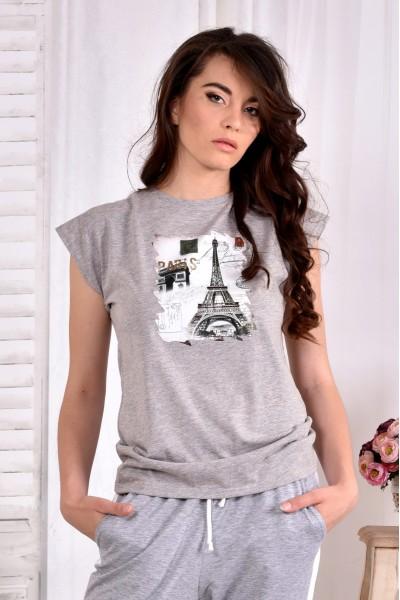 Фото Сіра футболка з принтом (ПРИНТ НА ВИБІР) 0557-2 (турецька трикотаж)