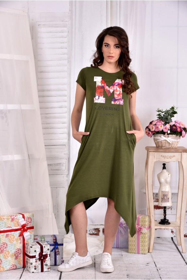 Фото Длинное платье цвета хаки 0558-1