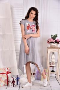 Фото Серое легкое платье ниже колена 0558-2