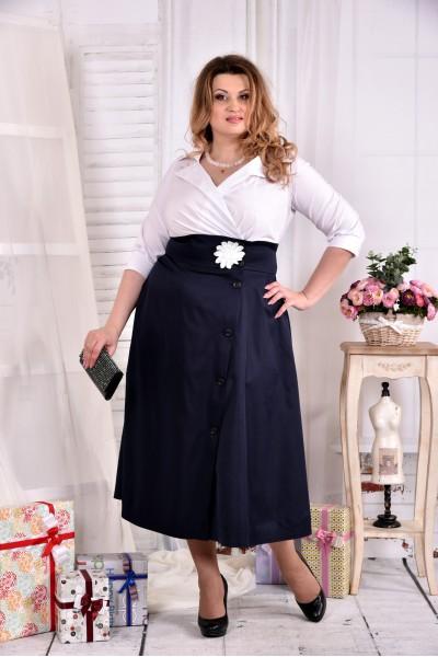 Синее длинное платье 0559-2