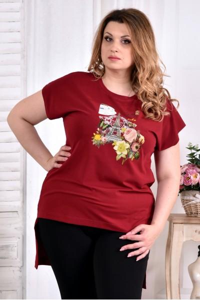 Фото Красная футболка (ПРИНТ НА ВЫБОР) 0561-2 (турецкий трикотаж)