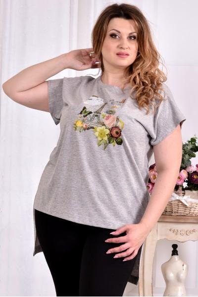 Фото Серая стрейчевая футболка (ПРИНТ НА ВЫБОР) 0561-3 (турецкий трикотаж)