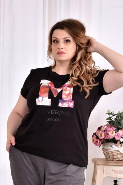 Фото Черная футболка с надписью (ПРИНТ НА ВЫБОР) 0562-1 (турецкий трикотаж)
