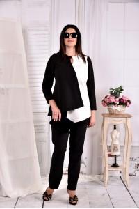 Фото Черно-белая блузка 0565-1 (идеально сочетается с брюками 030-1)