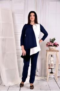 Фото Синяя с белым блузка 0565-2 (классно сочетается с брюками 030-2)