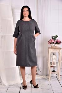 Серое свободное платье 0569-1